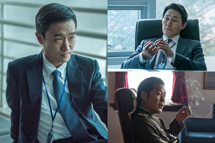 검사 역의 조우진, 국정원 직원 역의 박성웅, 북한 보안성 간부 역의 유재명. 사진 워너브러더스코리아