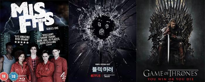 해나 존-케이먼은 영국, 미국 드라마에서 단역과 조연 캐릭터를 거치며 얼굴을 알렸다. 사진 '미스피츠'(2011, E4) '블랙미러'(2011~2016, Chnnel 4, 넷플릭스) '왕좌의 게임'(2016, HBO) 포스터