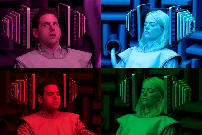 색색의 의상과 네온 조명, 다양한 배경은 '매니악'의 또 다른 재미다. 사진 넷플릭스