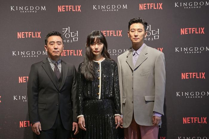 넷플릭스 오리지널 시리즈 '킹덤 2' 제작발표회. 배우 류승룡, 배두나, 주지훈(왼쪽부터) 사진 넷플릭스