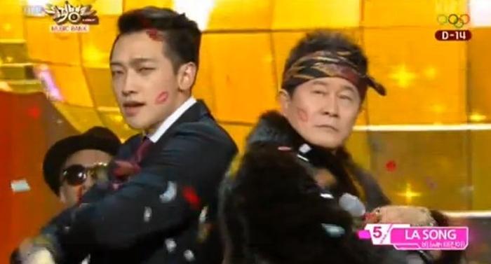 비, 태진아 '라 송' 합동 무대. 사진 KBS2 '뮤직뱅크'
