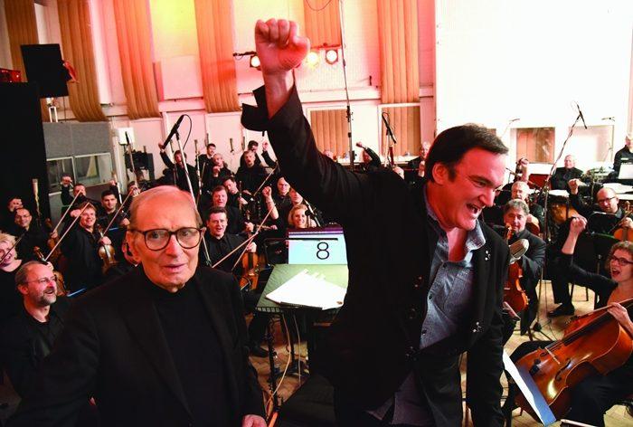 엔니오 모리꼬네 감독(왼쪽), 쿠엔틴 타란티노. 영화 '헤이트풀8' 제작현장. 사진 (주)누리픽쳐스