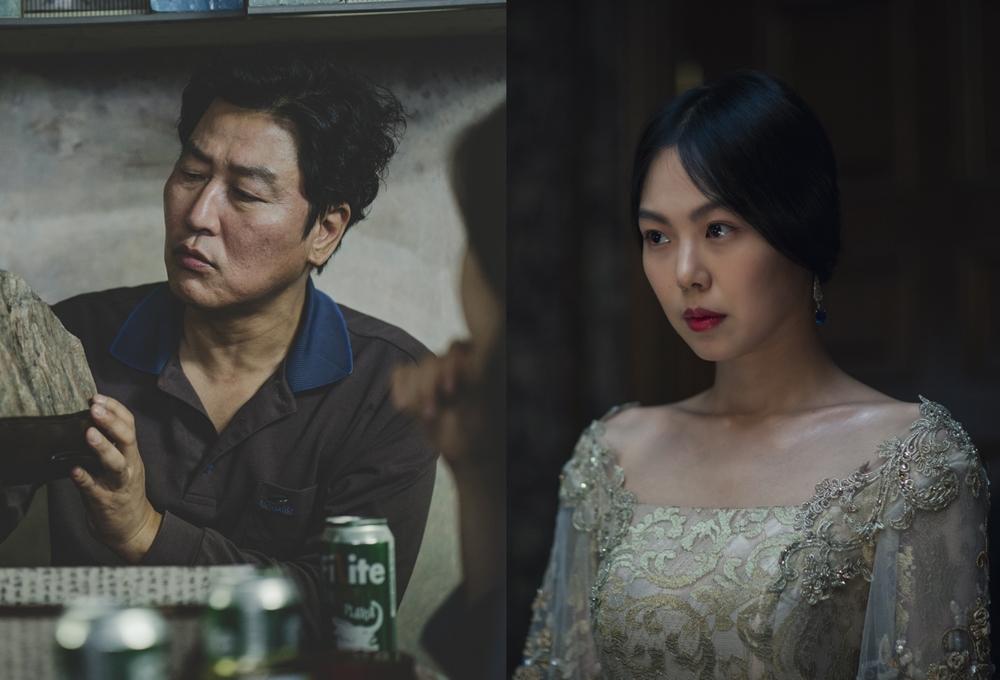 배우 송강호, 김민희. 영화 '기생충', '아가씨' 스틸. 사진 CJ엔터테인먼트